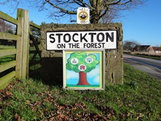 Sign for Stockton on the Forest and Hopgrove